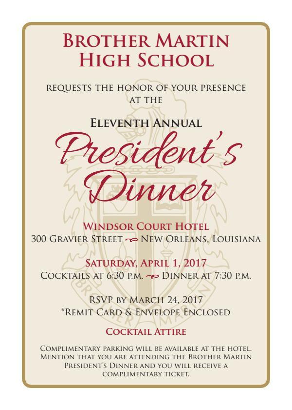 President's Dinner Invite 2017