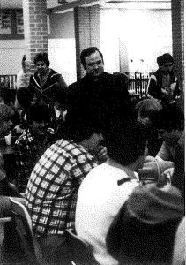 Bishop Muench in 1980 with students.