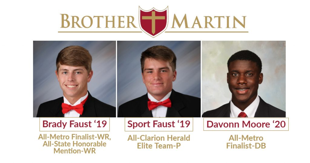 Football 2018 Honors - Faust, Faust and Moore