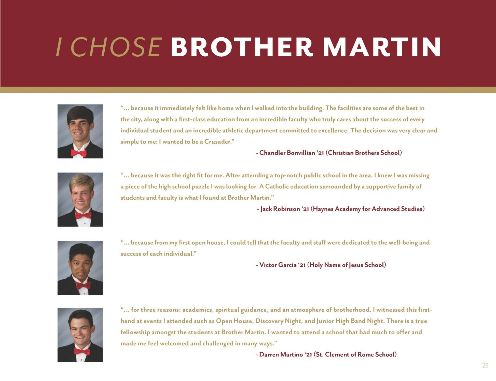 I Chose Brother Martin...